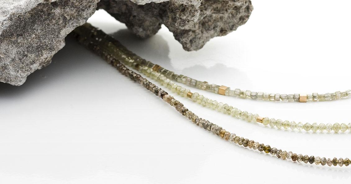 Diamantketten mit Goldelementen