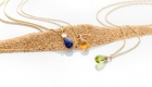750er Rosé-/Gelbgold Anhängerserie Lapis Lazuli, Citrin und Peridottropfen an Anker- oder Zopfkette