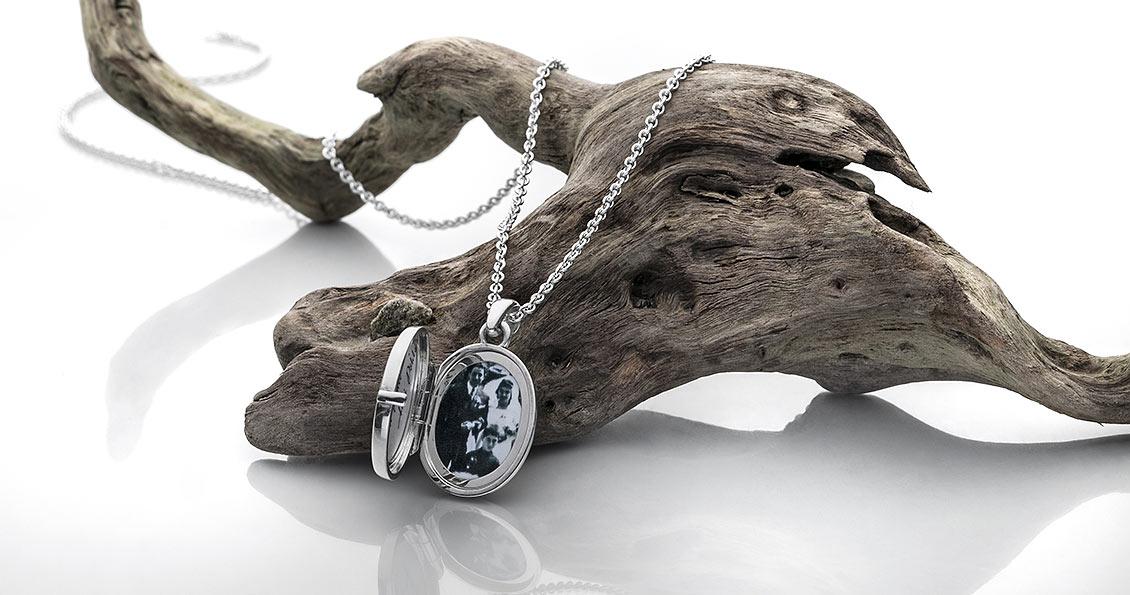 Amulett mit Ankerkette in 925 Silber