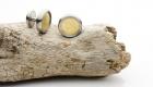 Manschettenknöpfe mit 750 Gelbgold in Edelstahl – Einlagen sind wechselbar