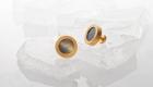 Manschettenknöpfe mit Perlmutt in Edelstahl Gold plattiert – Einlagen sind wechselbar