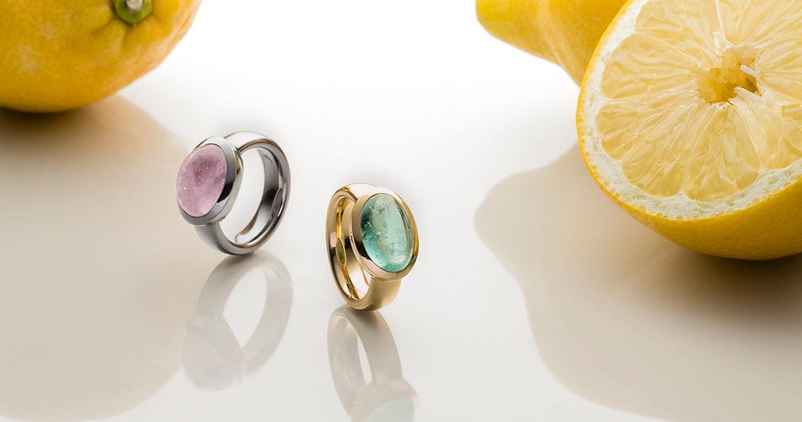 Morganitring rosa Cabochon in 750er Weißgold ﹒Turmalinring Cabochon in 750er Gelbgold