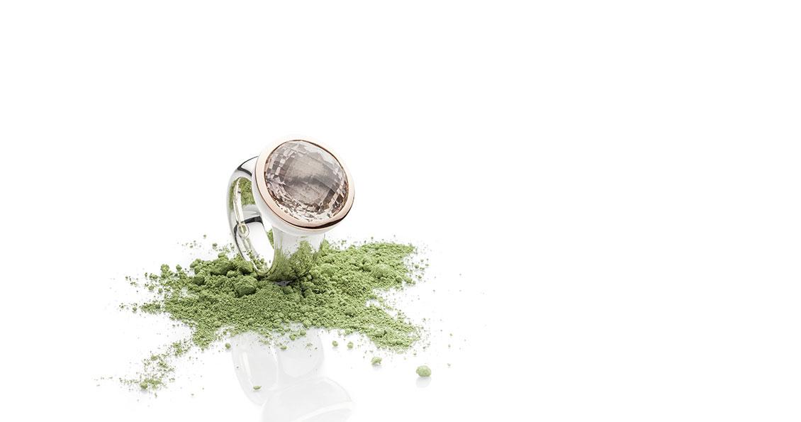 Champagnertopasring Facettenschliff in 925 Silber mit 750 Roségold